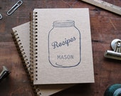 HARD COVER - Recipe book with mason jar image - Letter pressed 5.25 x 7.25 inch journal