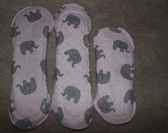 Pink with elephants reusable cloth pad