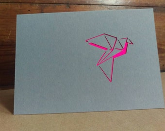 Papercut Christmas Card: Origami Dove Neon & Grey
