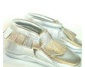 Silver Leather Baby / Toddler  Moccasins (metallic)