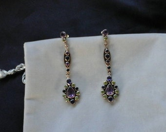 NB India amethyst, peridot, iolite, 925 dangle earrings