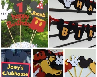 Mickey Mouse Birthday Party Decoration Package, Mickey Mouse Centerpiece, Banner, Confetti, Cupcake Toppers and Door Sign