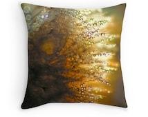 Dandelion Decor, Raindrop Cushion, Gold Cushion, Water Drops, Rain Drop Pillow, Bokeh Pillow, Macro Photography, Gold Decor, Brown Decor