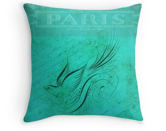 Teal Cushion, Teal Pillow, French Decor, Teal Decor, Turquoise Cushions, Turquoise Pillow, Turquoise Decor, Paris Decor, Gift for Women