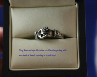 Rare  Antique  Victorian Mechanical Claddaugh Ring in Sterling Silver