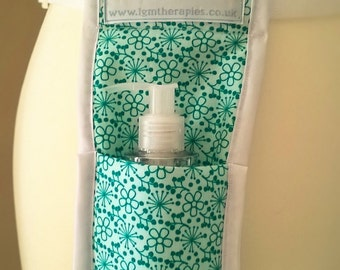 Massage oil/lotion holster - turquoise fabric