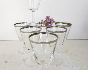 Set of 7 Silver Rimmed Wine Glasses -  Mid Century  Martini Glass - Vintage Stemware - Hollywood Regency Elegance - Mid Century Barware -
