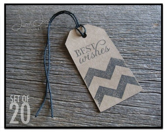 Chevron Best Wishes Gift Tag - set of 20