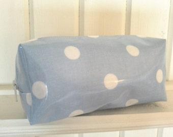 Duck egg Blue polkadot. Spotty. Oilcloth Makeup Bag