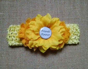 Yellow Headband, Baby Headband, Button Headband, Baby Hair Accessory, Newborn Headband, Baby Girl Headband, Infant Headband, Flower Headband