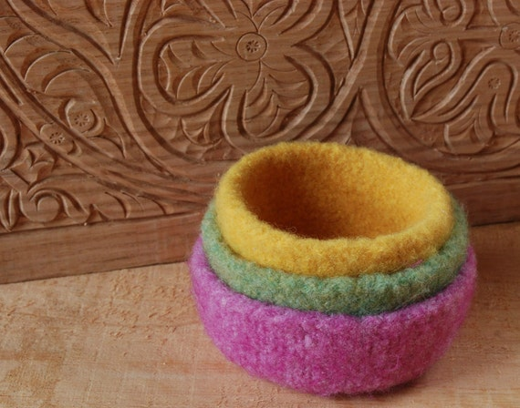3 Felted wool bowls, light green, pink & yellow, stackable, Easter baskets,spring decor, Nature table, Waldorf inspired. open ended play