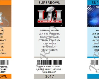 Super Bowl Party Photo Ticket Invitations- Authentic & Personalized- QTY 20