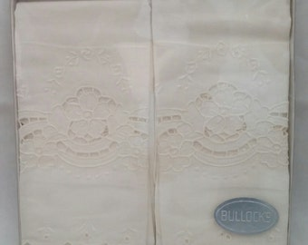 Vintage Set Of Two Ivory 100% Linen Tea Towels From Bullocks In Gift Box