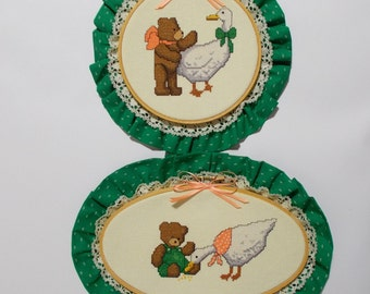 2 Cross Stitch Hoops Finished Bear Duck Lace Green Ruffle Completed Country Decor