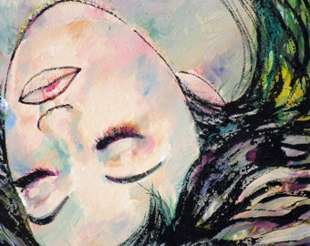 WOMAN portrait-CLOSED EYES - original painting - one of a kind!