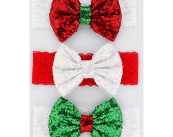 Christmas Sequin Headband Bows for Little Girls