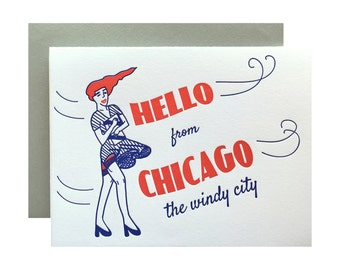 Letterpress Chicago Card, 50s 60s inspired, Hello from The Windy City, Pinup Girl, Retro red and blue, Redhead, mid century, local regional
