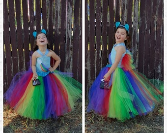 Rainbow Tutu Inspired Rainbow dash costume - Rainbow Birthday party, Tea party, size nb to 12years