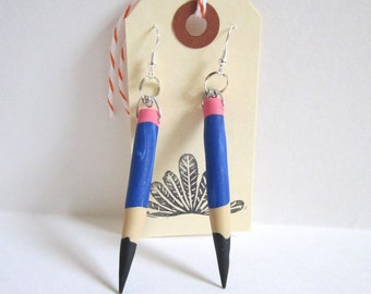 Blue Pencil Earrings, Teacher Earrings, Polymer Clay Pencil Earrings, Dangle Earrings, Art Teacher Jewelry, Teacher Jewelry, Back to School