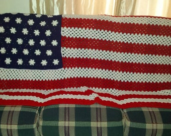 Crochet American Flag Afghan