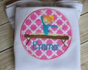 Gymnast Gymnastic Balance Beam Birthday Athlete Applique Shirt T-Shirt Bodysuit Personalized Monogrammed