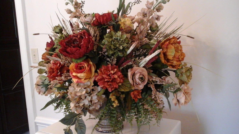 Floral arrangement large tuscan silk centerpiece