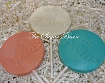 TWINS CHOCOLATE Lollipops*12 Count*It's Twins*Baby Shower Favor*Gender Reveal*Baby Boy*Baby Girl*New Baby Announcement