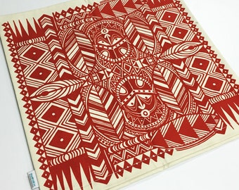 Tiki, Cushion Cover, Printed Fabric Front and Back Cotton 18x18