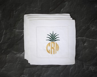 Monogram Cocktail Napkins, Pineapple Cocktail Napkins, Custom Cocktail Napkin, Gifts for Her, Unique Gift, Housewarming Gift