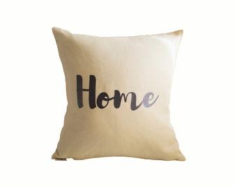 Ivory Pillow, Throw Pillow, Decorative Pillow, Linen Pillow, Ivory Home Pillow, Ivory Linen Pillow, Brush Script Pillow, Home Linen Pillow
