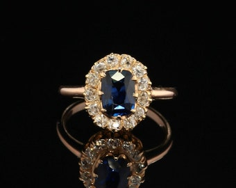 Art Deco rare natural sapphire and diamond cluster ring