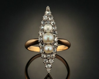 Victorian diamond and  natural pearl navette shape marquise ring