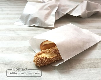 x50, 100 Plain Blank White paper gift bags(14 x 20cm) _FLAT paper bags_FOOD SAFE Gourmet bakery cookie treat bags_Merchandise bags