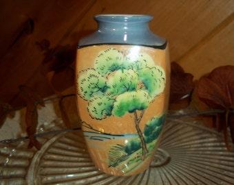 Beautiful Vintage Lusterware Vase Orange & Blue Full Bloom Green Tree Motif 1950's Japanese Collectible 5 Inch Home Decor Vase