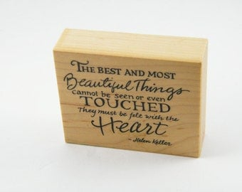 "Brand NEW ""Felt with the Heart"" Helen Keller Quote Cardmaking Rubber Stamp PSX F-2843 Destash"