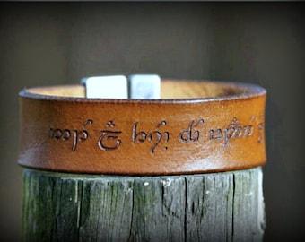 Engraved leather bracelet~ Leather Bracelet,Elvish leather band, elvish script, leather band, cuff bracelet, engraved bracelet, jewelry