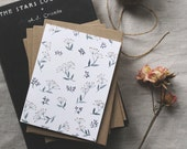 Illustrated Floral Pattern Blank Greeting Card with kraft envelope • wedding card • graduation • congratulations • mother's day • birthday
