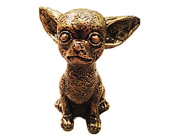 Bronze Style Chihuaha Cast Stone Art Sculpture
