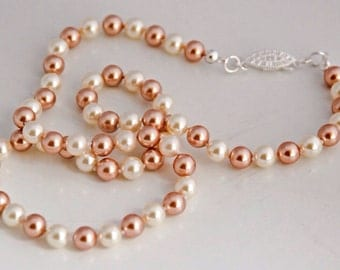 Cream and Rose Pearl Necklace Rose Gold Jewelry Wedding pearl jewelry Bridal pearl jewelry Bridesmaid necklace Bridal party Gifts for Her
