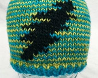 Grateful Dead Hat,  Knit 13 Point Lightening Bolt Hat, Striped Hat, Handmade Hat, Hand Knit Hat, Soft Hat, Merino Wool Hat, Knit Wool Hat