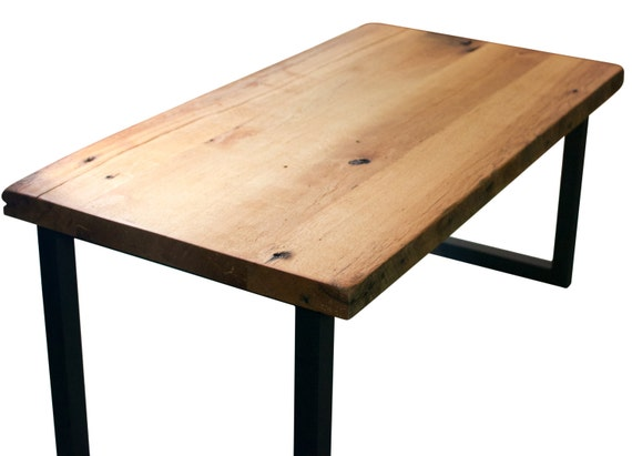 Items similar to rustic reclaimed oak barn wood table with for Schmaler couchtisch