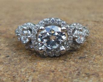 14K White Gold 6MM Round Semi Mount Ring / Engagement Ring / Diamond Ring