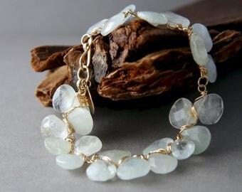 Aquamarine Bracelet, 14K Gold Filled, Wire Wrapped Flower Petal Bracelet, Aqua Gemstone Bracelet, Statement Bracelet, Wedding Jewelry, Boho