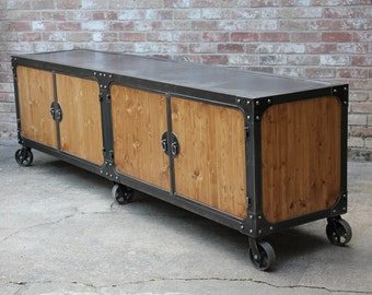 industrial cabinet with casters center buffet condiment station sideboard cart - Wine Credenza