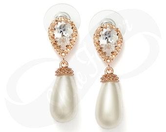 RoseGold Teardrop Earrings RoseGold Bridal Tear drop Pearl Earrings Teardrop RoseGold Earrings Pearl Bridal Jewelry Bridesmaid Gift
