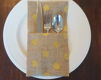 Burlap Utensil Holder, Thanksgiving Utensil Holder, Thanksgiving Dinner, Christmas Dinner