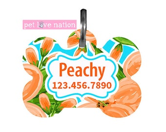 Personalized Pet Tag, Dog Tag, ID Tag, Peach Flowers Pet Tag With Name And Phone Number