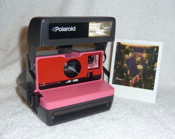 Pink with Red Front Tested Polaroid 600 OneStep With Close Up And Flash Built-In