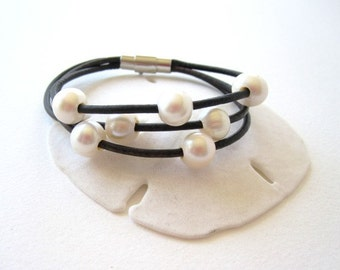 Pearl and Leather Bracelet - 3 Strand Leather and Pearl Bracelet - pearl bracelet - leather wrap bracelet - leather and pearl jewelry