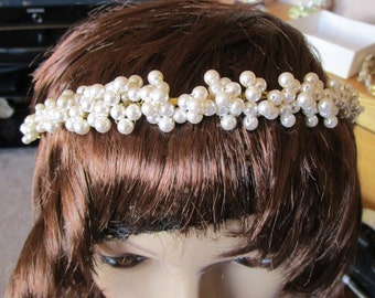 """vintage hand made goldtone metal Tiara/masses of cream faux pearls  standard 16""""band  in top condition"""